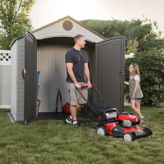 Lifetime 8x5 Plastic Storage Shed Kit w/ Floor (6418) This shed could be a great size for a storing your push mower and other garden tools