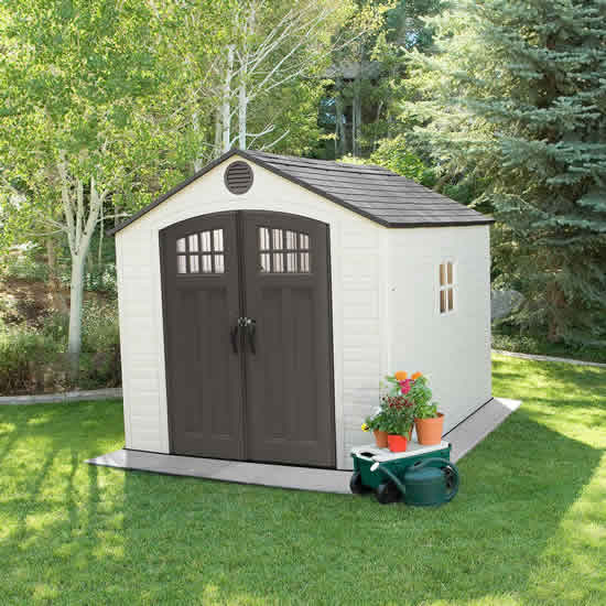 Lifetime 8x10 Outdoor Storage Shed Kit w/ Floor (60241)  This shed will do a great job of keeping your lawn and garden tools safe.