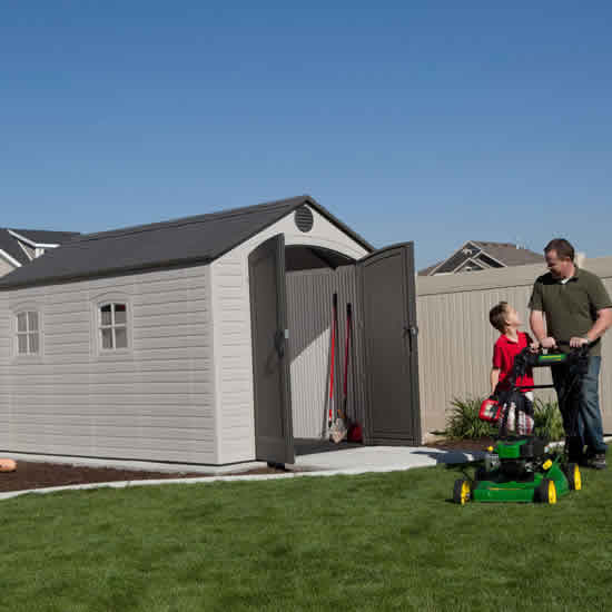 Lifetime 8x12.5 Plastic Storage Shed Kit w Floor (6402) Stow all your garden tools and mower inside this shed.