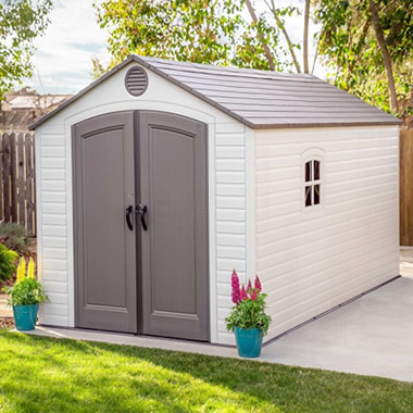 Lifetime 8x15 Plastic Storage Shed Kit w/ 2 Windows (60075) Provide you the storage capacity that you need to organize your belongings.
