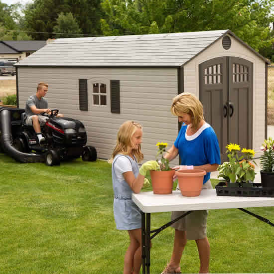 Lifetime 8x17.5 Outdoor Storage Shed Kit w/ 2 Windows (60121) You can hide bulky equipment in this shed like your lawn mower or tractor.