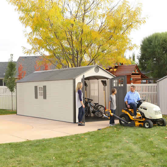 Lifetime 8x20 Plastic Storage Shed w/ 2 Windows (60120) Large enough to store your tractor, mowers, bicycles and woodcutter.