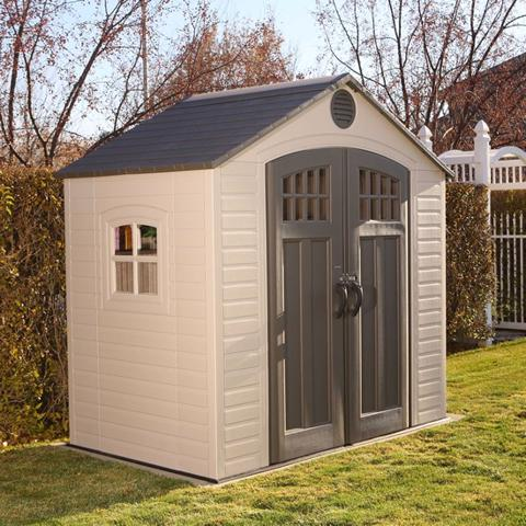 Lifetime 8x5 New Style Plastic Storage Shed Kit (60113) Helps you keep everything in its place like your garden tools.