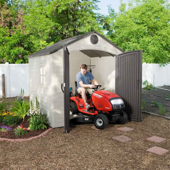 Lifetime 8x7.5 Plastic Outdoor Storage Shed Kit w/ Floor (6411) Provides storage space for your small tractor.