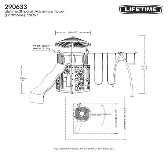 Lifetime Shipwell Adventure Tower Swing Set - Earthtone (290633) - Dimensions