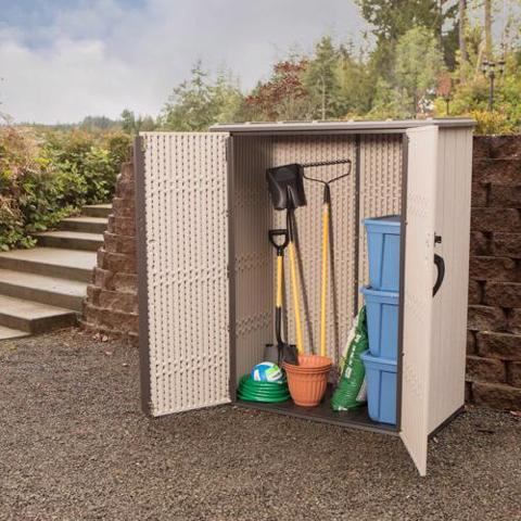 Lifetime Vertical Storage Shed Kit w/ Floor (60280) Excelled storage unit for your lawn and garden tools.