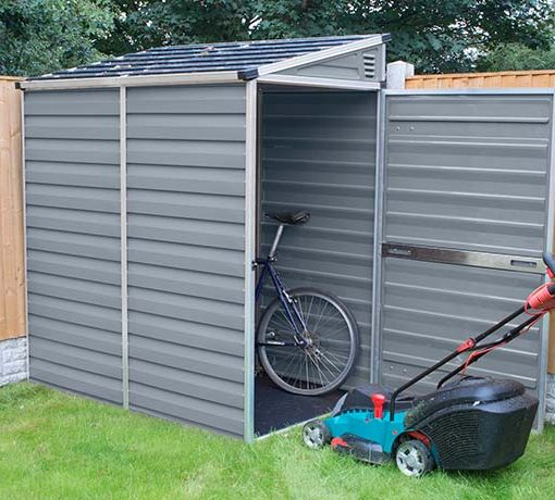 Palram 4x6 Lean-To Skylight Shed Kit w/ Floor - Gray (HG9600T) Ideal storage for your bike and lawnmower.