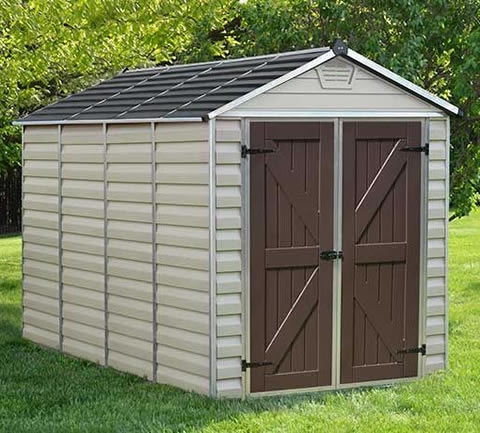 Palram 6x10 Skylight Storage Shed Kit - Tan (HG9610T) This shed is maintenance free so it will be able to withstand the worst of the weather.