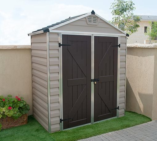 Palram 6x3 Sklight Storage Shed Kit - Tan (HG9603T) This shed includes a lockable door latch for added security.