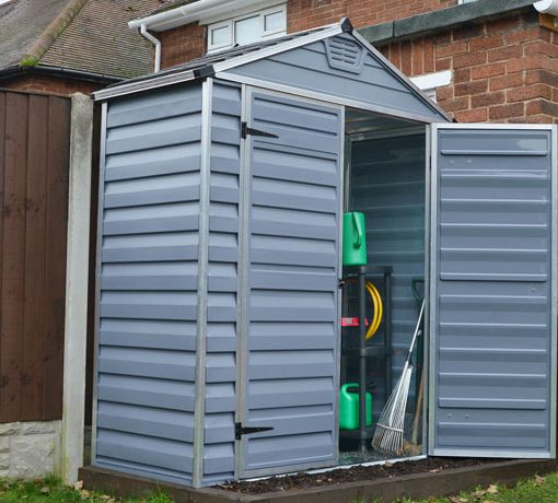 Palram 6x5 Skylight Storage Shed Kit - Gray (HG9605GY) Helps you organize your lawn and garden tools in one place.