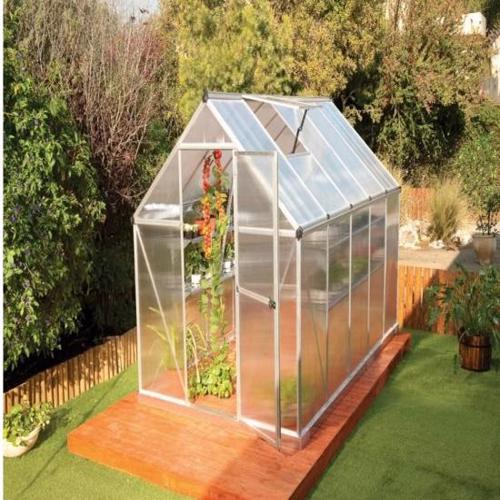 Palram 6x14 Mythos Hobby Greenhouse Kit - Silver (HG5014) The greenhouse includes two roof vents to help moderate air flow and temperature to maximize growing conditions.
