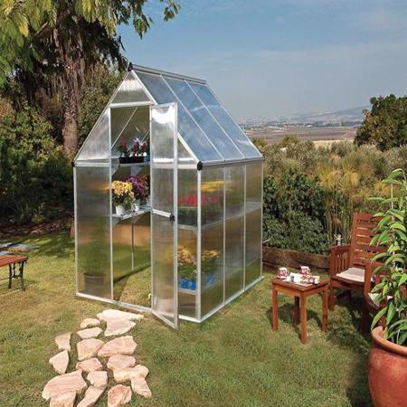 Palram 6x4 Mythos Greenhouse Kit - Silver (HG5005) This greenhouse is ideal to put in your garden or backyard.