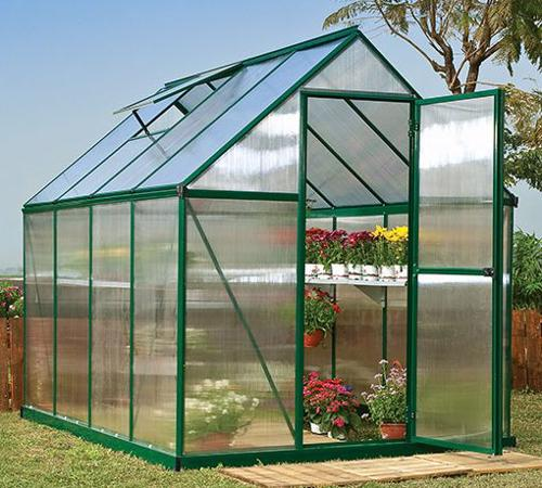 Palram 6x8 Mythos Hobby Greenhouse Kit - Green (HG5008G) Protects your growing flowers from the sun,