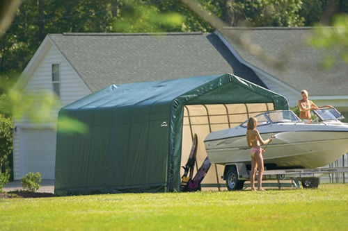 ShelterLogic 13x24x10 Peak Style Shelter Kit - Green (74442) Excellent storage solution for you boats.