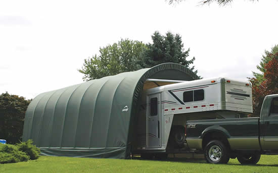 ShelterLogic 15x20x12 Peak Style Shelter Kit - Green (95351) With its big size, this will be an ideal storage for your trailer.