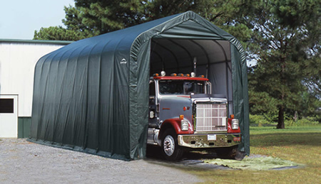 ShelterLogic 16x36x16 Peak Style Shelter, Green (79441) Ideal protection for your truck.