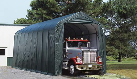 ShelterLogic 16x40x16 Peak Style Shelter, Green (95844) Provides shelter to your big trucks.
