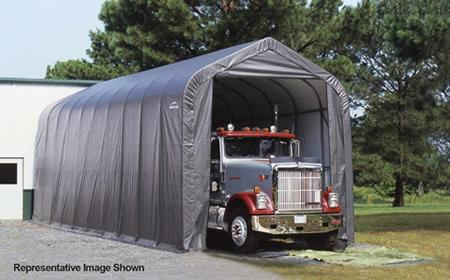 ShelterLogic 16x40x16 Peak Style Shelter, Grey (95843) Provide storage for your truck.