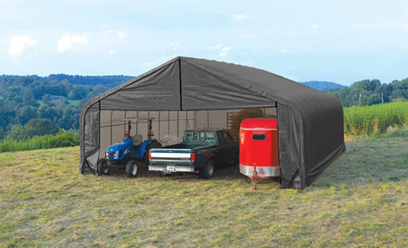 ShelterLogic 28x20x20 Peak Style Instant Garage Kit - Grey (86062) This shed is an extreme storage solution for your boats, lawnmowers and other equipment.