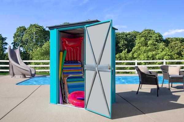ShelterLogic 4x3 Spacemaker Steel Shed Kit - Teal and Anthracite (CY43T21) Ideal storage for your pool toys, patio seats, and more.