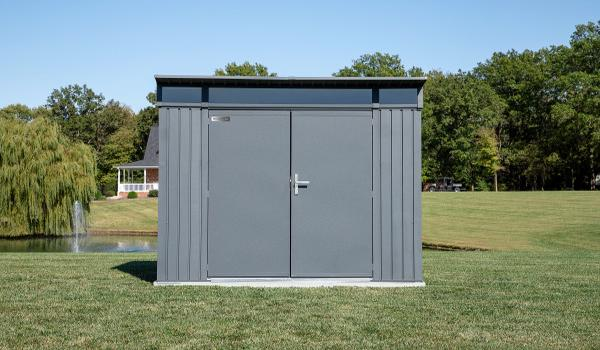 Sojag 8x5 Denali Metal Shed Kit - Anthracite - Anthracite (SJDEN85) This shed is an ideal addition to your backyard setting.