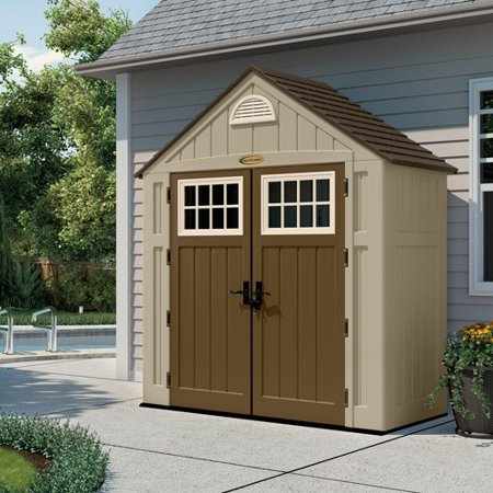 Suncast 7x3 Alpine Shed - Taupe (BMS7300D) Great for storing your lawn and outdoor tools.