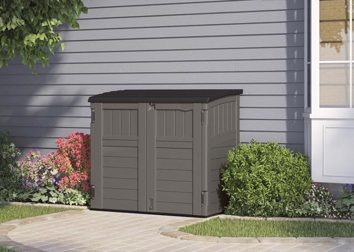 Suncast Horizontal Resin Storage Shed Kit - Stoney (BMS2500SB) This shed will definitely adds beauty to your patio or garden.