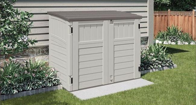 Suncast Horizontal Resin Storage Shed Kit - Vanilla (BMS2500) This shed will definitely adds beauty to your patio or garden.