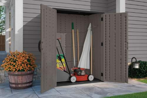 Suncast 54 cu. ft. Vertical Shed (BMS5700SB) This shed will give you more room for your outdoor tools.