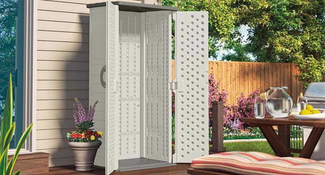 Suncast 22 Cubic Feet Vertical Resin Storage Shed - Vanilla (BMS1250) Open Doors View
