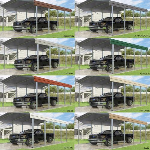 VersaTube 20x20x7 Classic Steel Carport Kit (CM020200070) Color choices for your roof!