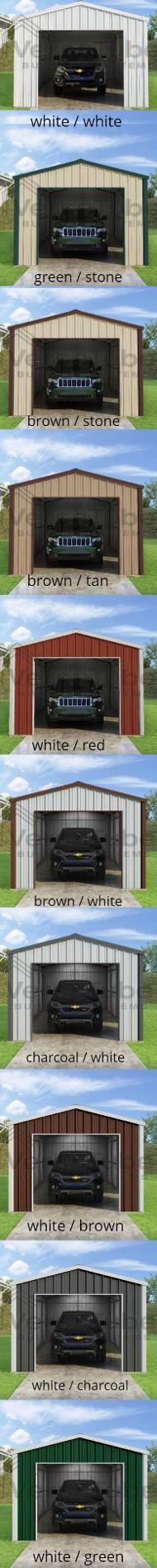 Versatube 20x20x10 Frontier Steel Garage Lean-To Kit (FBM2202010516-LT12) Choose your color combination!